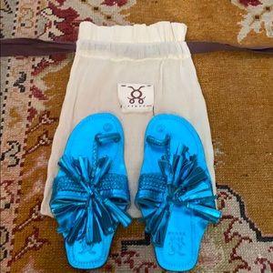 Figue blue metallic fringe sandals with shoe bag